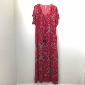Xhilaration Short Sleeve Sheer Boho Maxi Dress